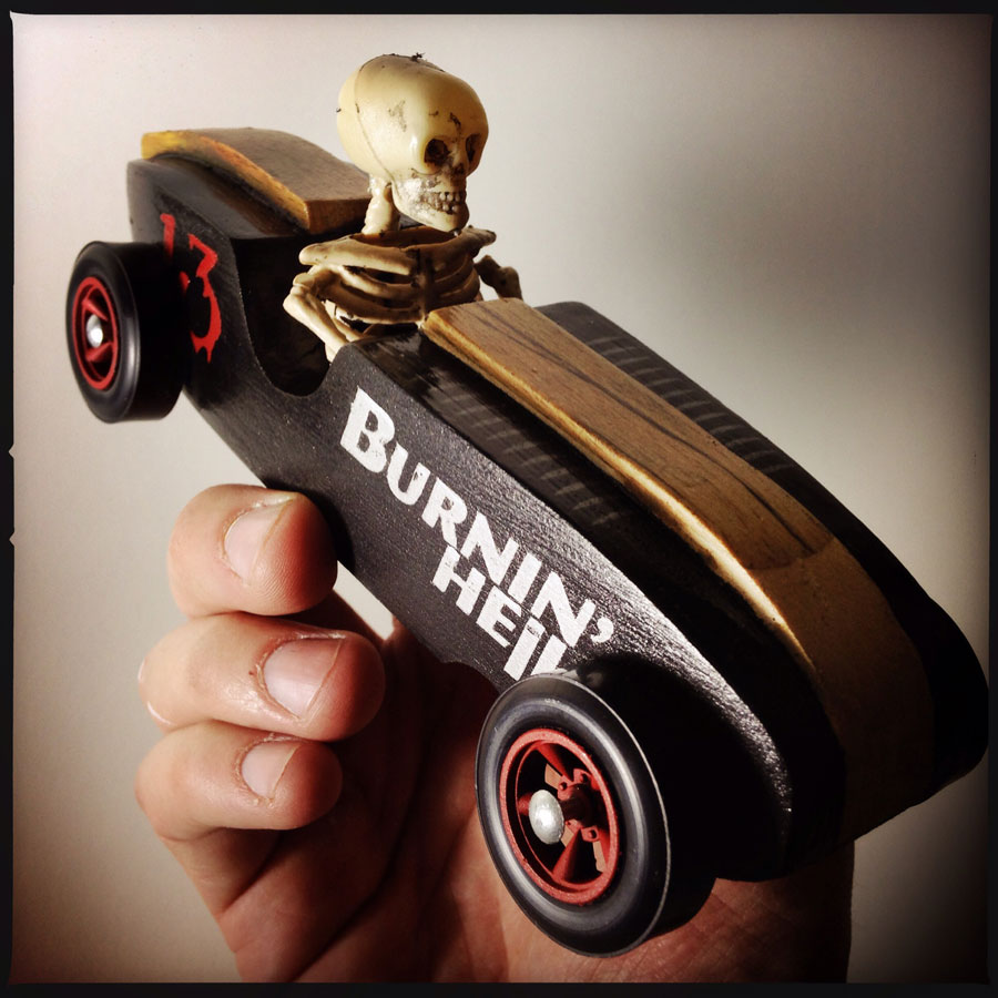 Burnin' Hell Pinewood Derby car